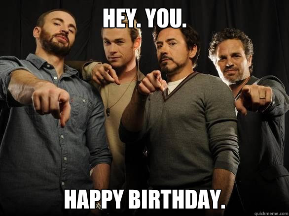 avengers with happy birthday greetings