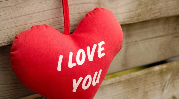 red heart pillow with i love you texts