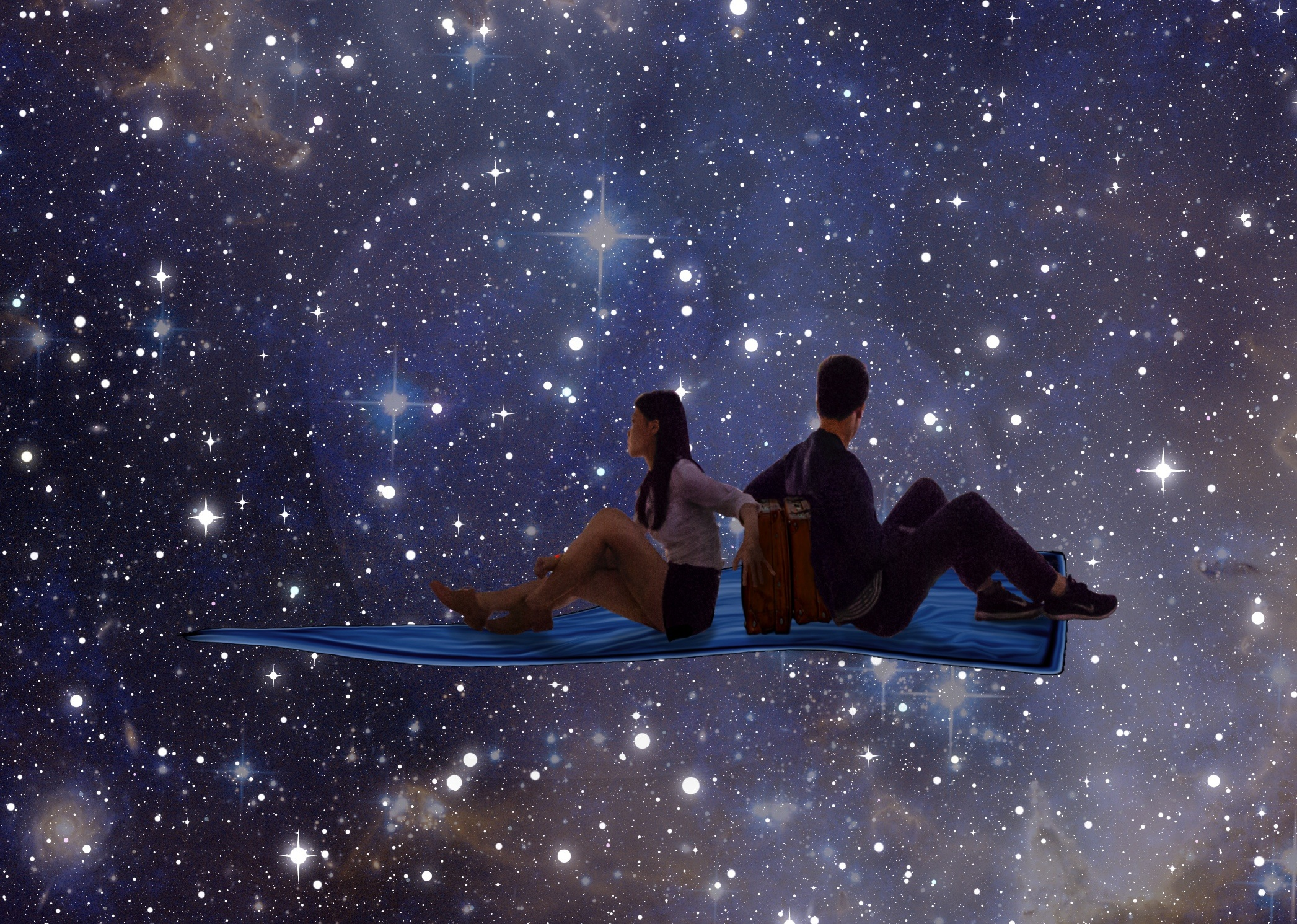 graphics of 2 couple looking to the stars
