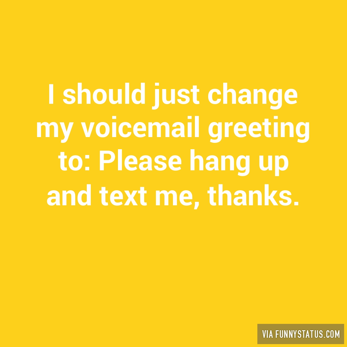 I Should Just Change My Voicemail Greeting To Please Funny Status